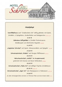 Speisekarte neu! Hauptgerichte ab 15.03.18