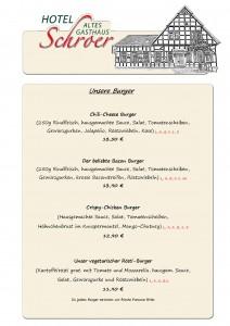 Speisekarte neu! Unsere Burger ab 15.03.18